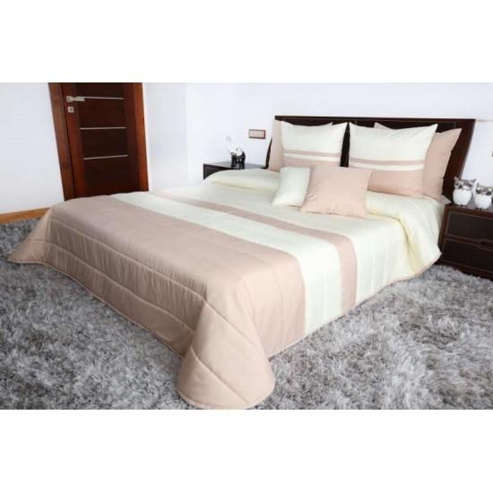 Krémovo-béžový pruhovaný prešívaný prehoz na posteľ