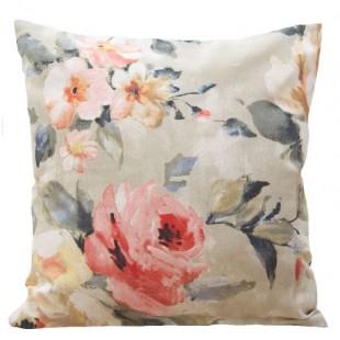 Béžovo ružová obliečka na dekoračný vankúš s kvetinovým vzorom