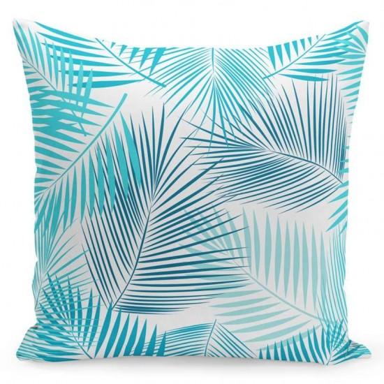 Biela obliečka na vankúš s motívom modrých palmových listov