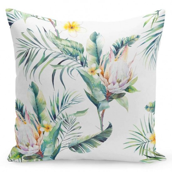 Zeleno biela obliečka na vankúš s exotickým motívom kvetov
