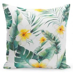 Zeleno biela obliečka na vankúš so žltými kvetmi
