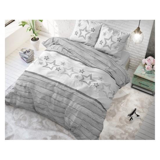 Flanelové posteľné obliečky sivej farby s hviezdami