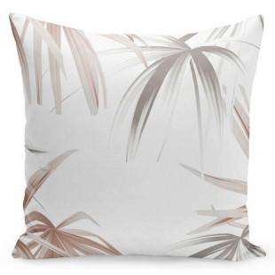 Biela 3D obliečka na vankúš s palmovými listami
