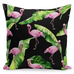 Čierna exotická obliečka na vankúš s palmovými listami