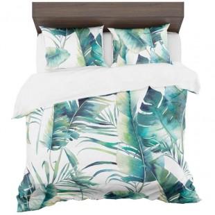 Bielo tyrkysové posteľné obliečky so vzorom palmových listov