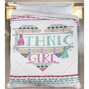 Dievčenský prešívaný prehoz na posteľ s etno vzorom