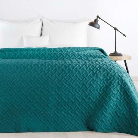 Prešívaný tmavo tyrkysový prehoz na posteľ