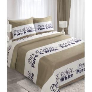 Bielo hnedá posteľná obliečka PURE & WHITE