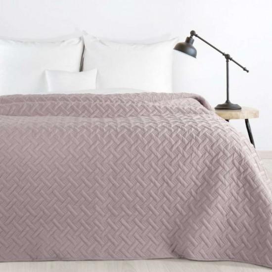 Púdrovo ružový prehoz na posteľ s prešívaním