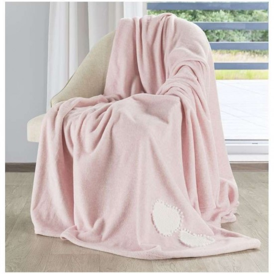 Fleecová svetloružová deka so srdiečkami