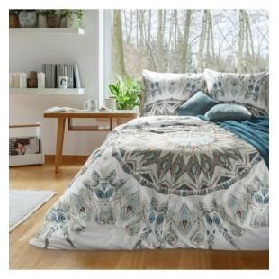 Elegantná posteľná návliečka bielo tyrkysovo hnedej farby so vzorom mandál