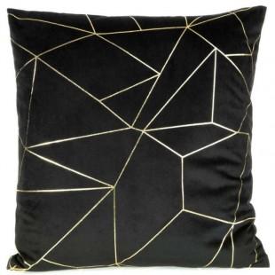 Obliečka na vankúš čierna so zlatým líniovým vzorom