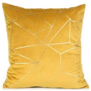 Obliečka na vankúš žltá so zlatým líniovým vzorom