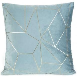Obliečka na vankúš modrá so zlatým líniovým vzorom