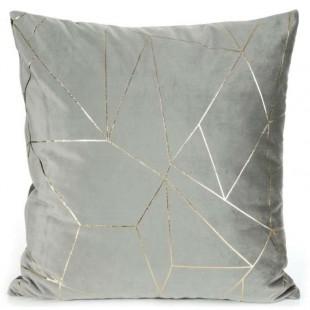 Obliečka na vankúš sivá so zlatým líniovým vzorom