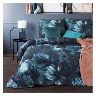 Sivo modrá elegantná posteľná obliečka zo saténovej bavlny