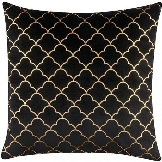 Zamatová čierna obliečka na vankúš s elegantným zlatým vzorom