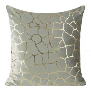 Strieborná velúrová obliečka na vankúš so vzorom zlatého kamenia