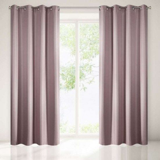 Púdrovo ružový stredne zatemňovací záves na okno
