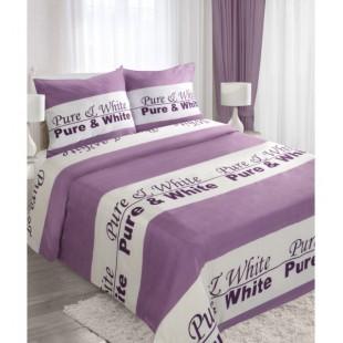 Fialovo biele posteľné obliečky s nápisom WHITE & PURE