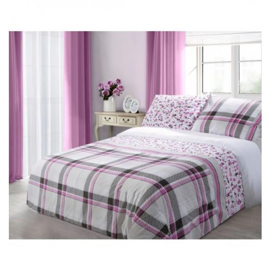 Kárované posteľné obliečky s kvietkami vo fialovo ružovej farbe