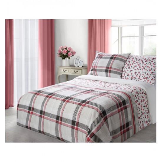 Kárované bielo červené posteľné obliečky s kvietkami