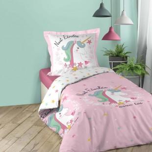 Ružové dievčenské posteľné obliečky s motívom jednorožca