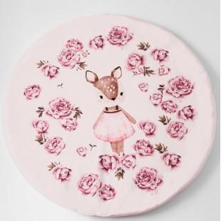 Ružová detská podložka s motívom srnky a pivónií