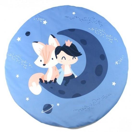 Modrá detská podložka na hranie s motívom princeznej a líštičky