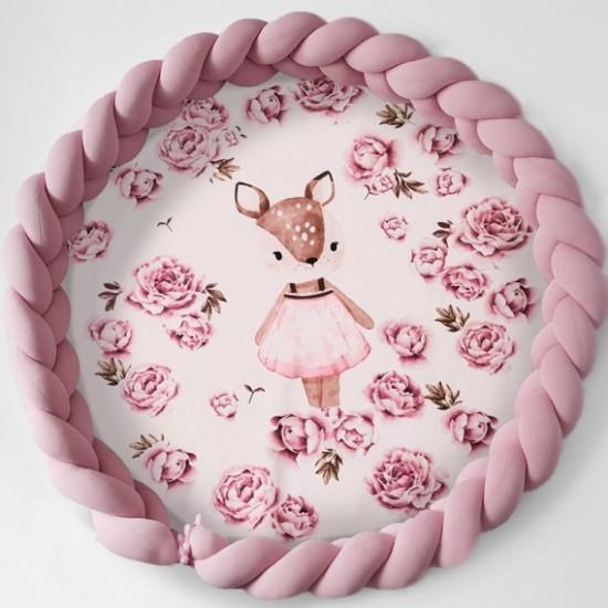 Kruhová ružová podložka s ružovým vrkočom vzor srnka
