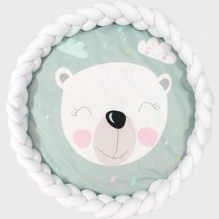 Mentolová podložka pre deti s medvedíkom a bielym ochranným vankúšom