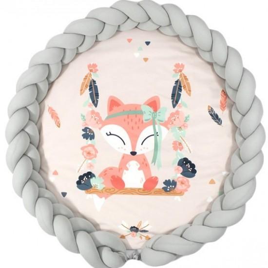 Podložka pre deti s motívom líšky a sivým ochranným vankúšom
