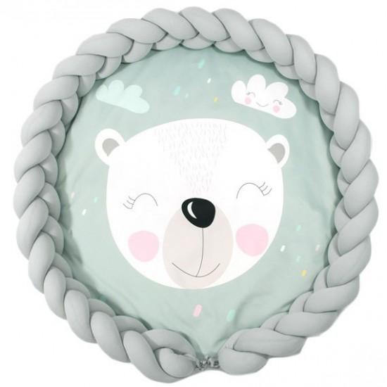 Detská mentolová podložka s motívom medvedíka a sivým ochranným vankúšom