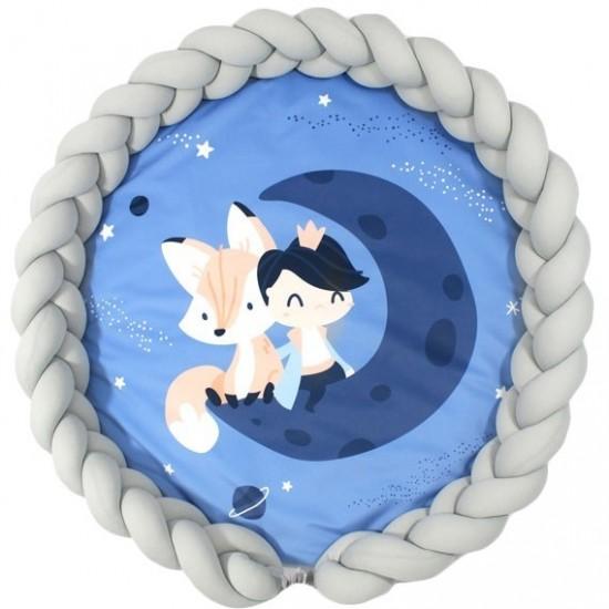 Detská modrá podložka s motívom princeznej a sivým ochranným vankúšom