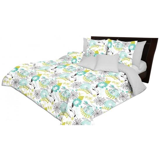 Bielo sivý dekoračný prehoz s modro zeleným kvetinovým vzorom