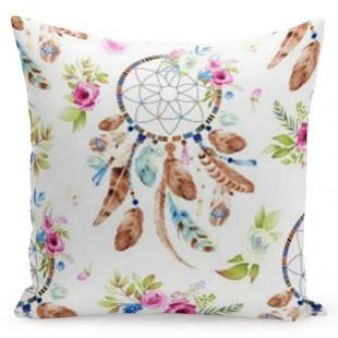 Biela obliečka na vankúš s farebným vzorom lapača snov a kvetov