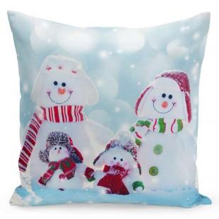 Obliečka na vankúšik s rodinkou snehuliakov