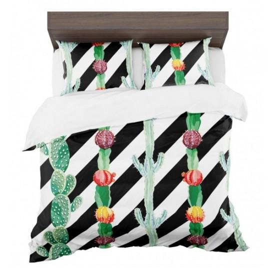 Pruhované bielo čierne posteľné obliečky s motívom kaktusov