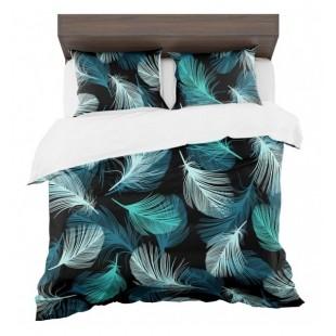 Tyrkysovo čierne posteľné obliečky s motívom páperia