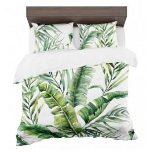 Exotické bielo zelené posteľné obliečky s motívom pralesa
