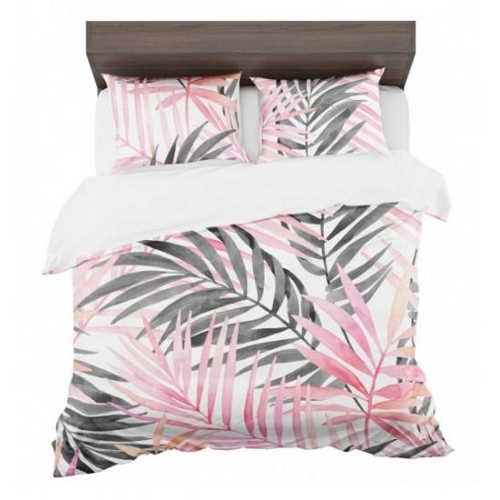 Ružovo sivo biele posteľné návliečky s motívom exotiky