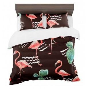 Tmavé exotické posteľné obliečky s kaktusmi a plameniakmi