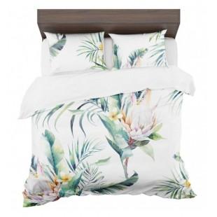Moderné bielo zelené posteľné obliečky s exotickými kvetmi