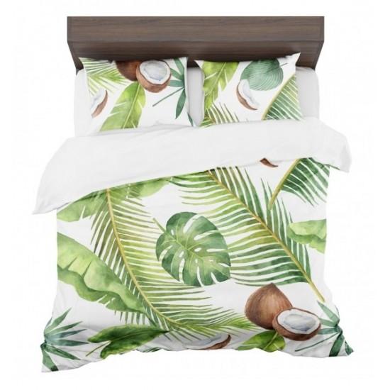 Návliečky na posteľ bielo zelenej farby s kokosovým orechom