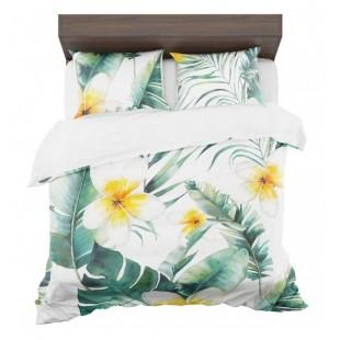 Zeleno biela posteľná obliečka s motívom exotických kvetov