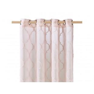 Staroružová záclona na kruhy s elegantným vzorom