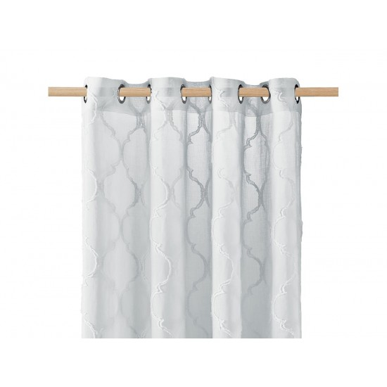 Svetlosivé záclona na kruhy s elegantným vzorom