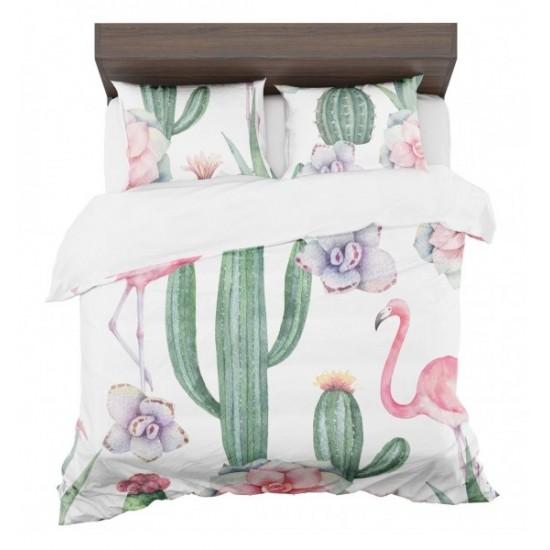 Posteľná obliečka s letným exotickým motívom zelono bielo ružovej farby