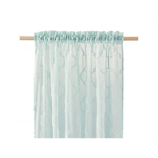 Mentolová záclona na štipčeky s elegantným vzorom