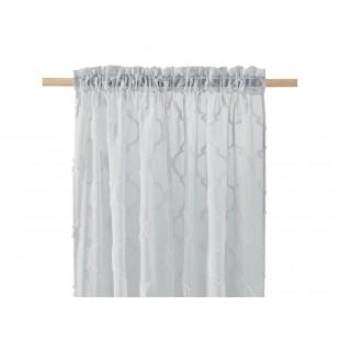 Záclona na štipčeky s elegantným vzorom v svetlosivej farbe